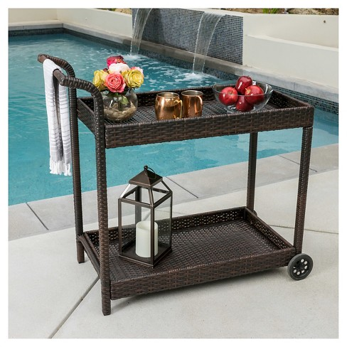 Savona Wicker Outdoor Serving Cart Brown Christopher Knight Home Target