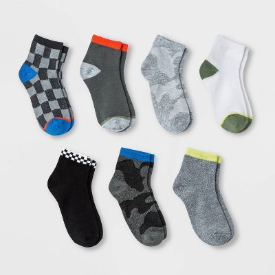 Boys' 7pk Ankle Motocross Socks - Cat & Jack™ Colors May Vary