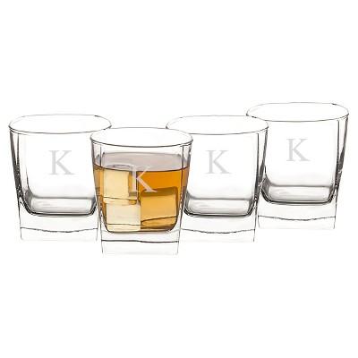 Cathy's Concepts 10.75oz 4pk Monogram Whiskey Glasses K