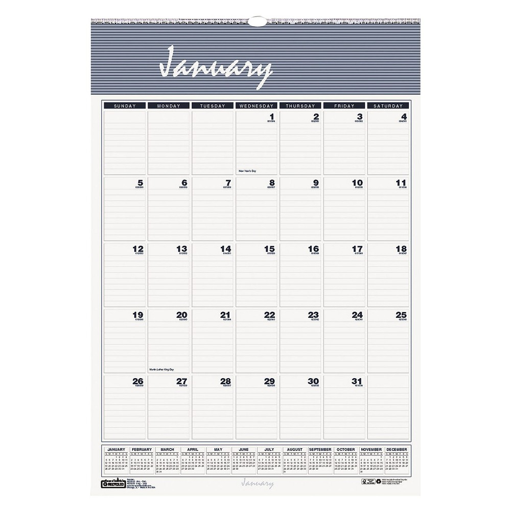 House of Doolittle Recycled Bar Harbor Wirebound Monthly Wall Calendar 22 x 31 1/4 2018, White/Grey/Blue