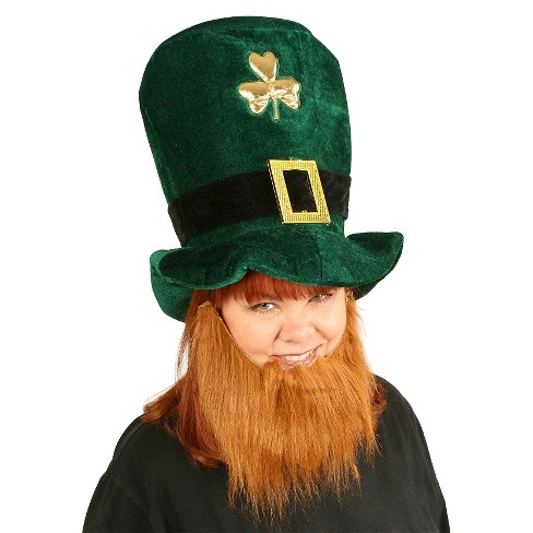 St. Patrick's Day Plush Leprechaun Hat with Beard - image 1 of 1