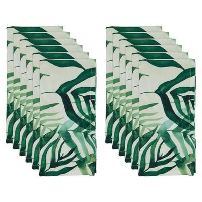 12pk Polyester Rainforest Table Napkins Green - Saro Lifestyle