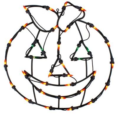 "Northlight 14"" Jack-O-Lantern Double Sided Halloween Window Silhouette Decoration - Orange/Green"