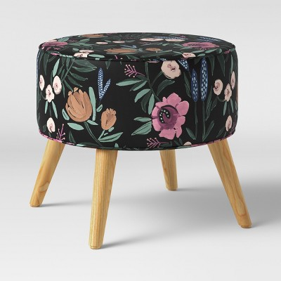Riverplace Round Cone Leg Ottoman Black Floral - Project 62™