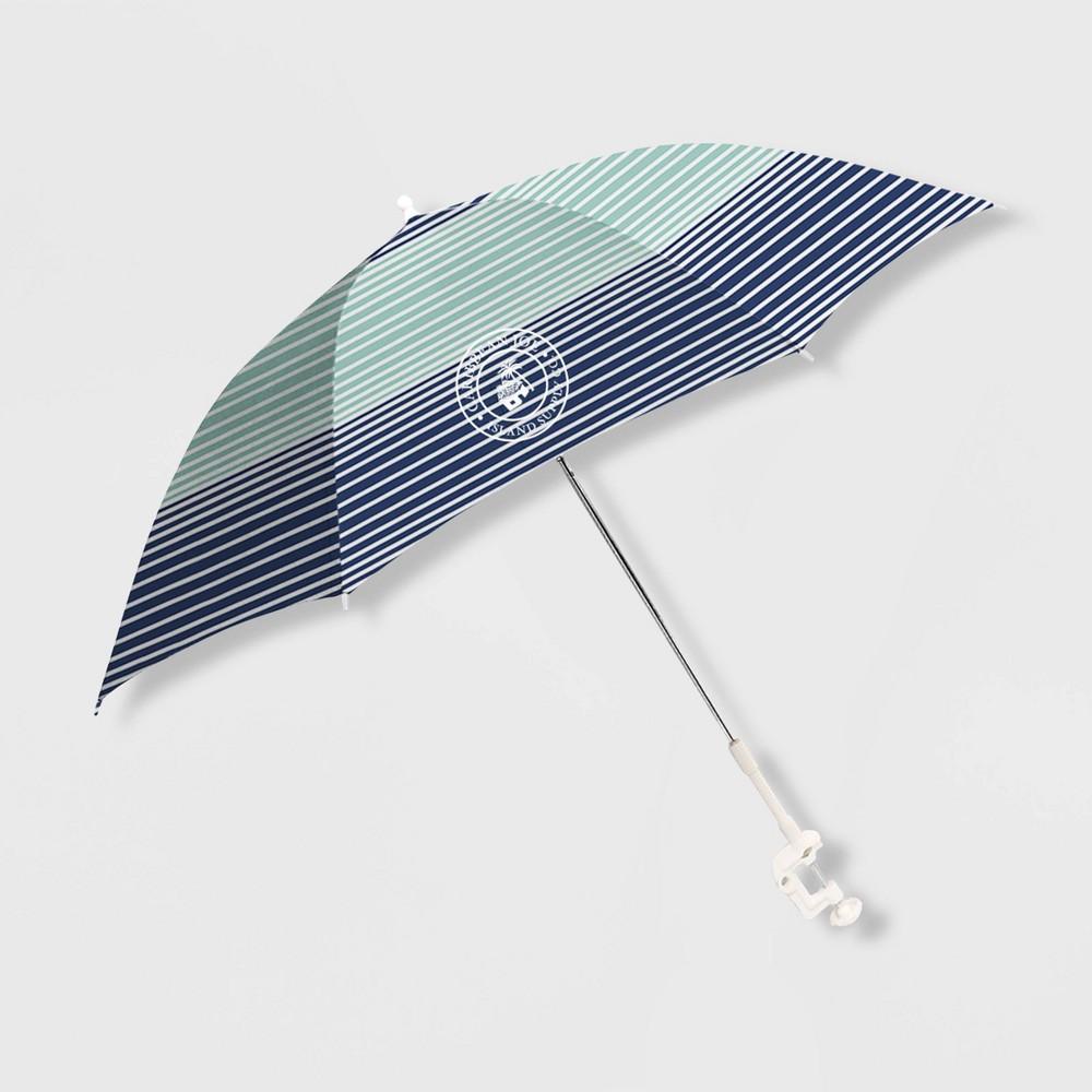 Image of Caribbean Joe Outdoor Beach Stick Umbrella - Horizon Stripe, MultiColored