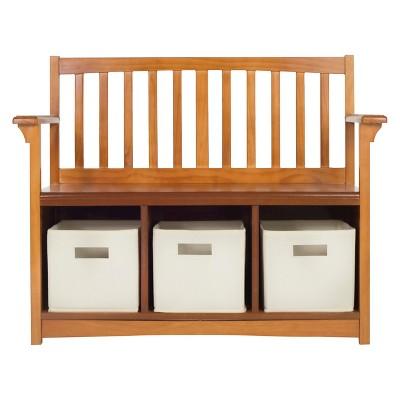 Superior Kids Storage Bench With Bins   Walnut   Guidecraft : Target