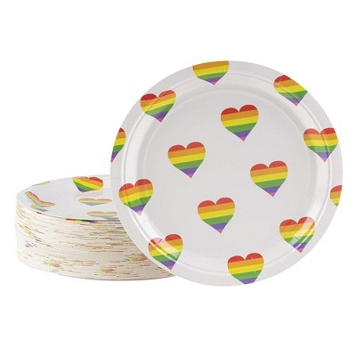 Blue Panda 80-Count Rainbow Heart Stripes Disposable Paper Plates 9 Inches Party Supplies
