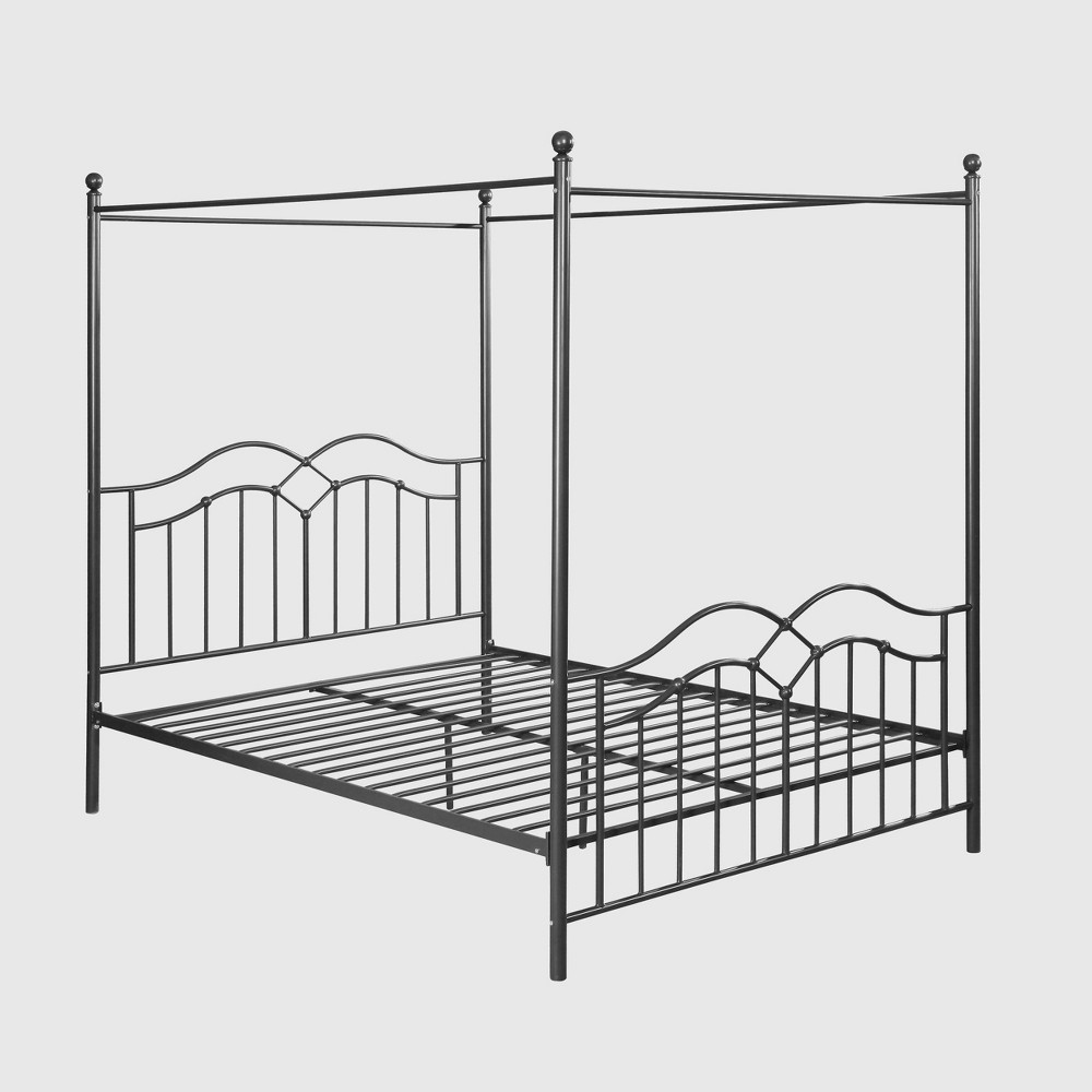 Queen Earhart Traditional Iron Canopy Bed Charcoal Gray Christopher Knight Home