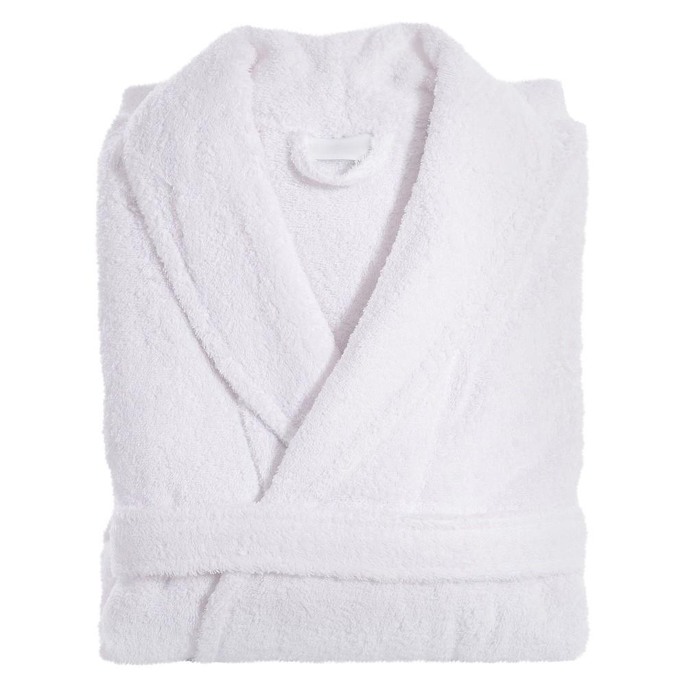 Terry Cloth Bathrobe Unisex Linum Home White Small Medium