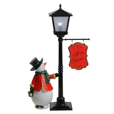 "Northlight 14.5"" Mini Pre-lit Street Lamp and Snowman Christmas Table Top Display"