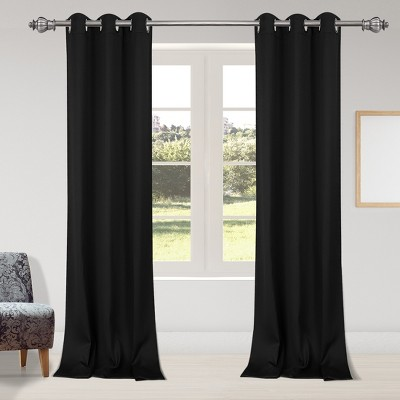 2 Pcs 42 x 95 Inch Solid Blockout Thermal Insulated Grommet Curtain Panels Black - PiccoCasa