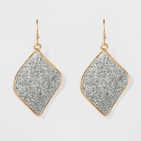 Women S Hanging Earrings With Glitter Paper Discs Gold Silver