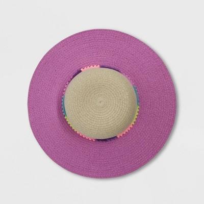 Toddler Girls' Pom Pom Straw Floppy Hat - Cat & Jack™