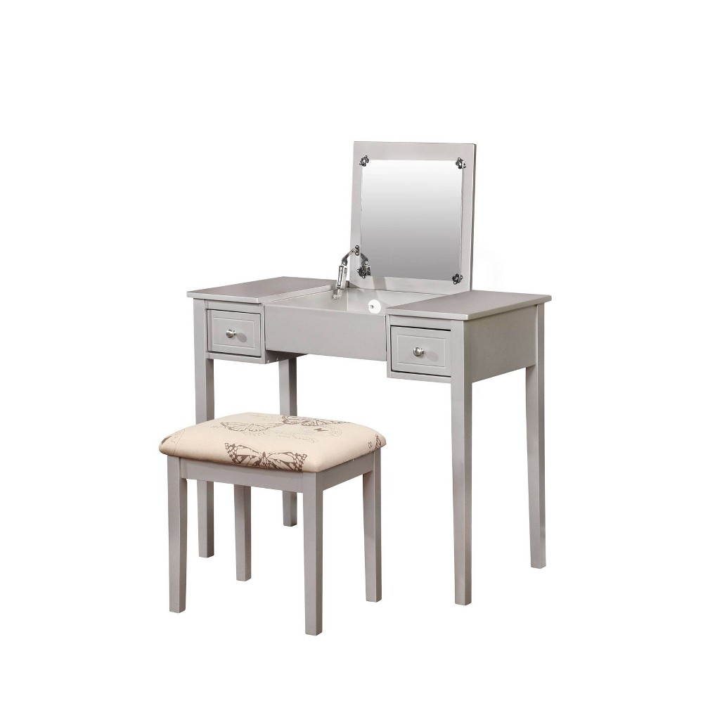 Butterfly Vanity and Stool Silver - Linon, Black Butterfly Vanity and Stool Silver - Linon Color: Black.