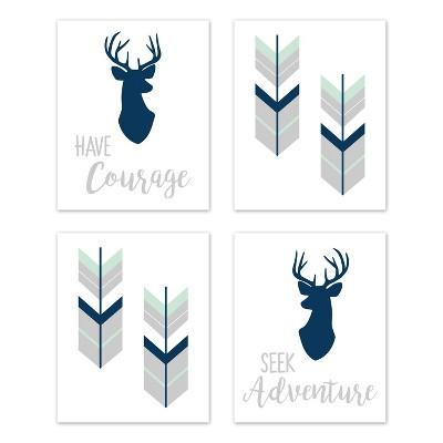4pc Woodsy Art Print Set Navy/Mint - Sweet Jojo Designs