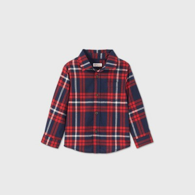 Toddler Boys' Long Sleeve Woven Plaid Button-Down Shirt - Cat & Jack™ Red 12M