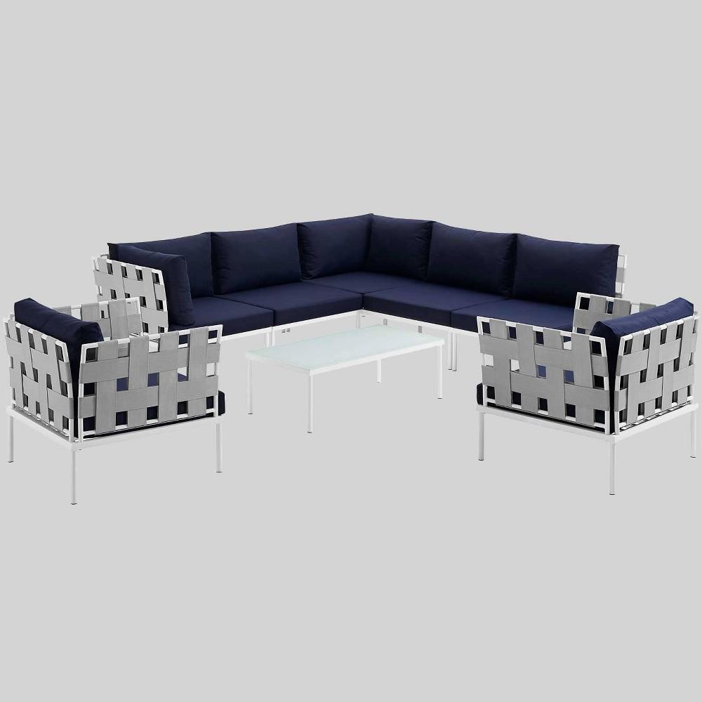 Harmony 8pc Aluminum Outdoor Patio Sectional Sofa Set - Navy (Blue) - Modway