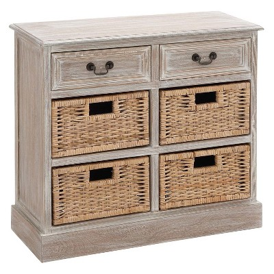 Wood Storage Accent Chest 4 Wicker Basket Drawers Taupe   Olivia U0026 May :  Target