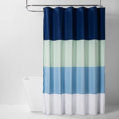 Microfiber Colorblock Striped Shower Curtain Blue/Green - Room Essentials™ - image 1 of 2