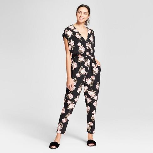 Womens Floral Print Short Sleeve Wrap Front Tie Waist Skinny Leg