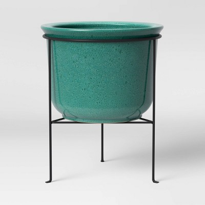 Large Ceramic Planter with Metal Stand Green - Threshold™