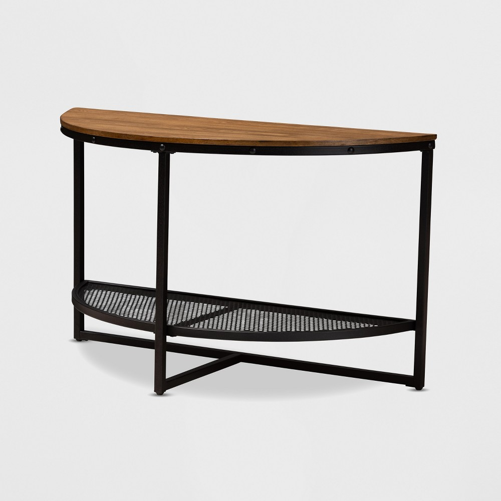 Chesson Wood Finished Metal Half Moon Console Table Brown/Bronze - BaxtonStudio
