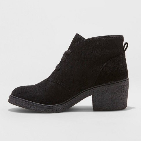 Women s Lucia Microsuede Lace-Up Heeled Ankle Booties - Universal Thread™    Target d142a7912