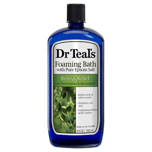 Dr Teal's Pure Epsom Salt Relax & Relief Eucalyptus & Spearmint Foaming Bath - 34 fl oz