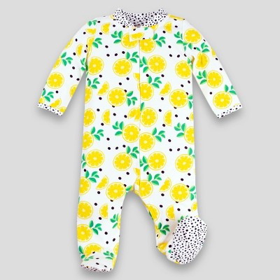 Lamaze Baby Girls' Organic Cotton Sleep 'N Play Lemons Footed Sleepers - Yellow 3M