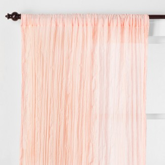 "Crushed Sheer Curtain Panel Glazed Peach 84"" - Opalhouse™"