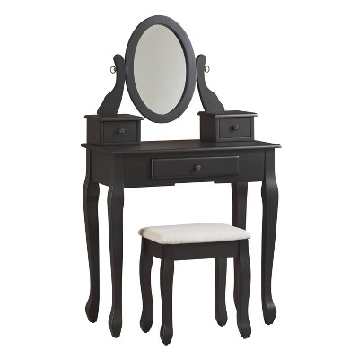 Huey Vineyard Vanity and Mirror with Stool Black - Signature Design by Ashley