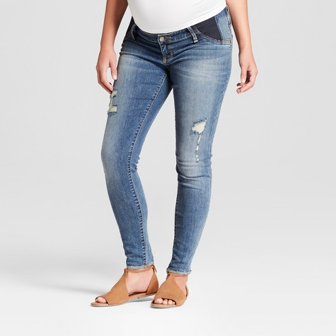 attractive style good service prevalent Maternity Inset Panel Distressed Skinny Jeans - Isabel Maternity by Ingrid  & Isabel™ Medium Wash