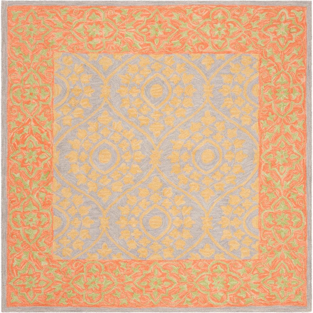 5'X5' Leaf Hooked Square Area Rug Orange/Silver - Safavieh