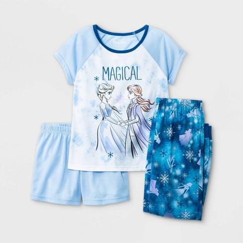 Girls' Frozen 3pc Pajama Set - Blue - image 1 of 3