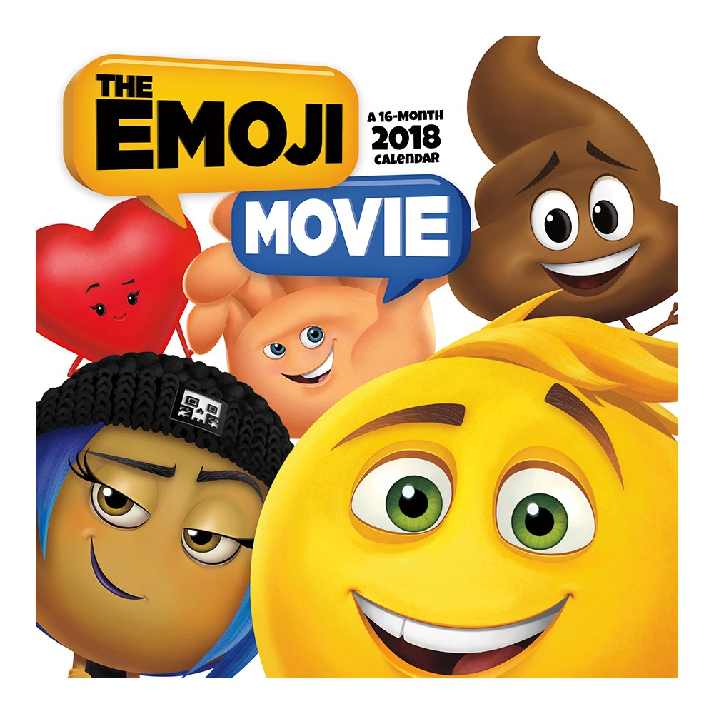 "2018 Emoji Movie Wall Calendar - Trends International, Multi-Colored Unlock the never-before-seen secret world inside your smartphone in The Emoji Movie. Gene, Hi-5, and Jailbreak go on an ""app-venture"" to fix Gene's code and save Textopolis before it's deleted forever. The 2018 Emoji Movie Calendar, printed on paper certified by the Forest Stewardship Council, includes the last four months of 2017 and plenty of space to tag your appointments emoji-style. Color: Multi-Colored."