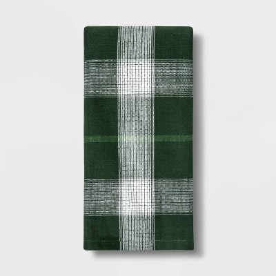 Cotton Yarndye Plaid Kitchen Towel Green - Threshold™