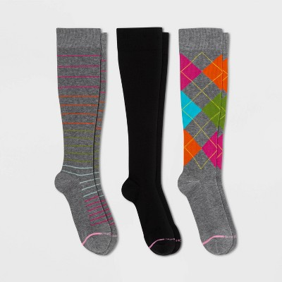 Dr. Motion Women's Mild Compression 3pk Knee High Socks - Gray Stripe/Argyle/Black