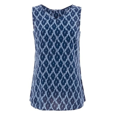 Aventura Clothing Womens Diamond Standard Fit Sleeveless V Neck Tank Top - Blue Small