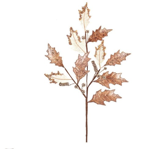 """Diva At Home 28"""" Gold and White Holly Leaf with Berries Artificial Christmas Spray - image 1 of 1"""