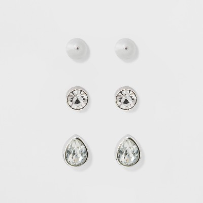 Earring Set 3ct - A New Day™ Silver/Clear