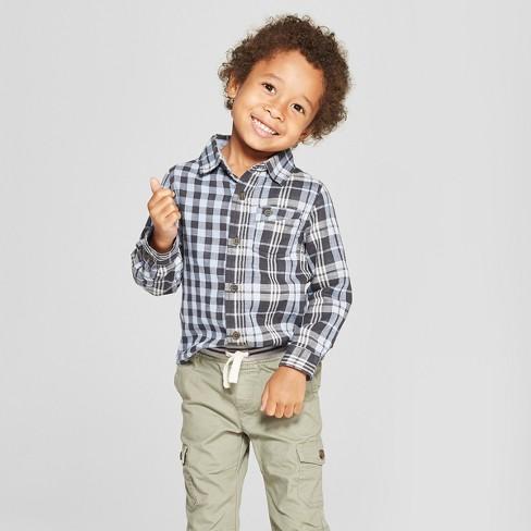 beeee09ec2235 Toddler Boys  Long Sleeve Plaid Button-Down Shirt - Cat   Jack™ Blue