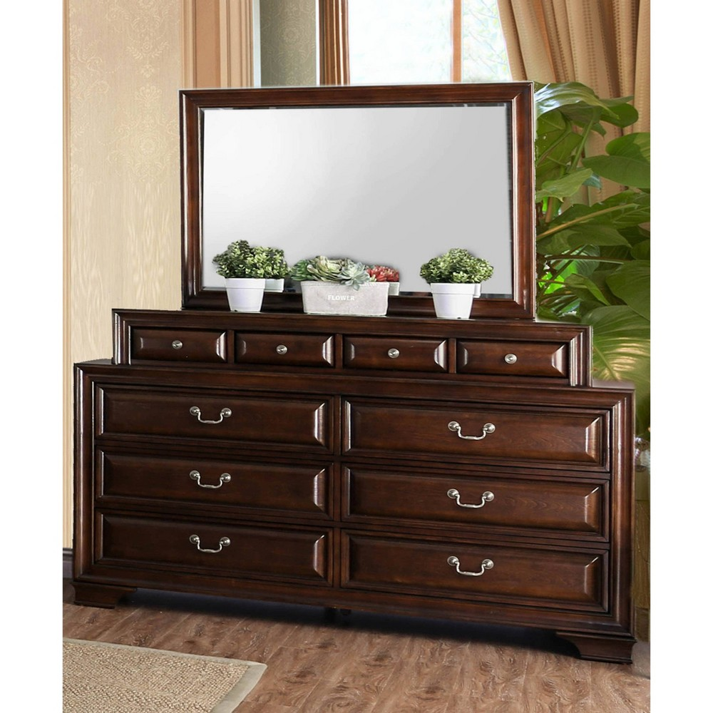 Image of Rowland 10 Drawer Dresser & Mirror Set Brown Cherry - HOMES: Inside + Out