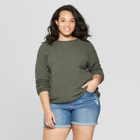 Women's Plus Size Long Sleeve Crew Neck Pullover Sweater - Universal Thread™ Olive X - image 1 of 3