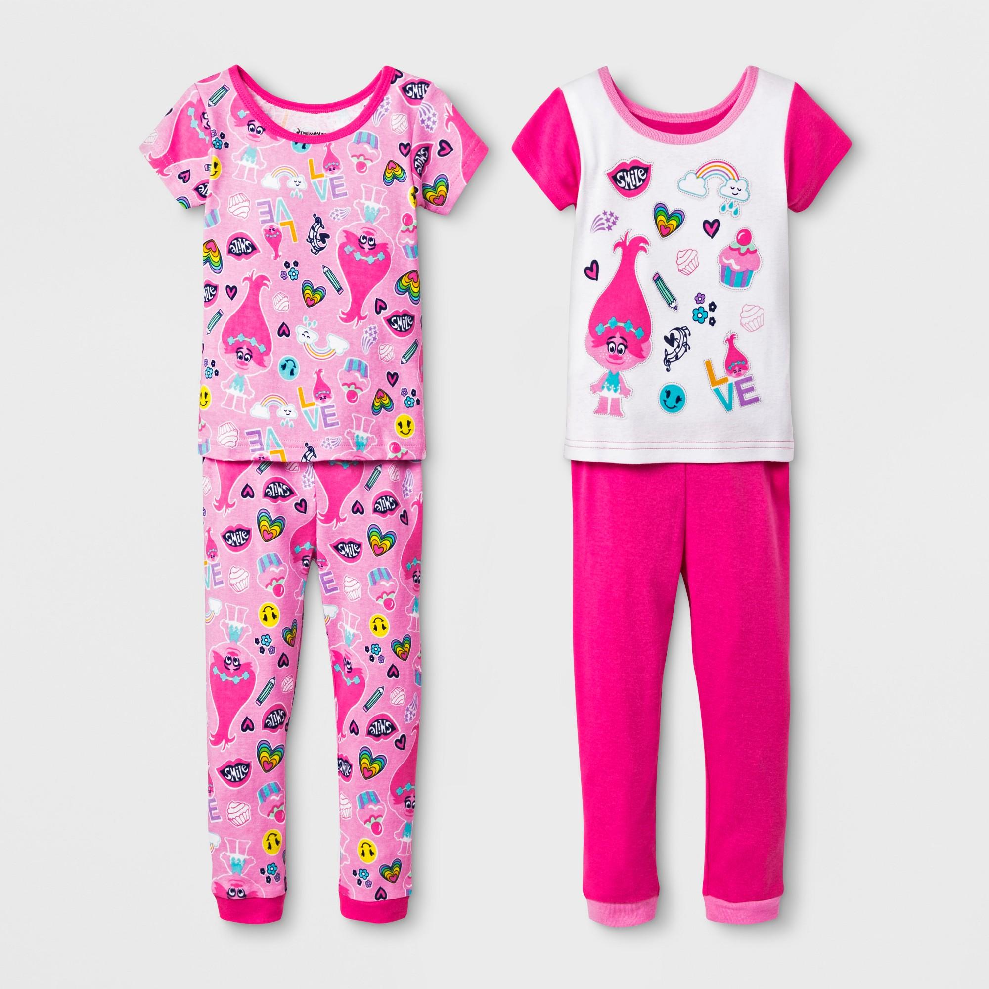Toddler Girls' 4pc Trolls Pajama Set - Pink 4T