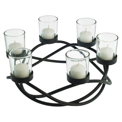 Round Waves Multiple Candleholder Black - Danya B