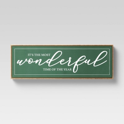 "36"" x 12"" Most Wonderful Time of the Year Framed Wall Print Vintage Green - Threshold™"