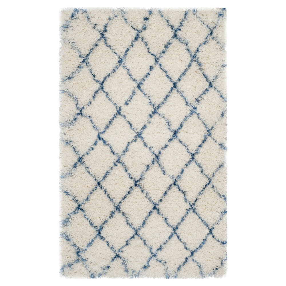 Ivory Blue Abstract Loomed Accent Rug 3 39 3 34 X5 39 3 34 Safavieh