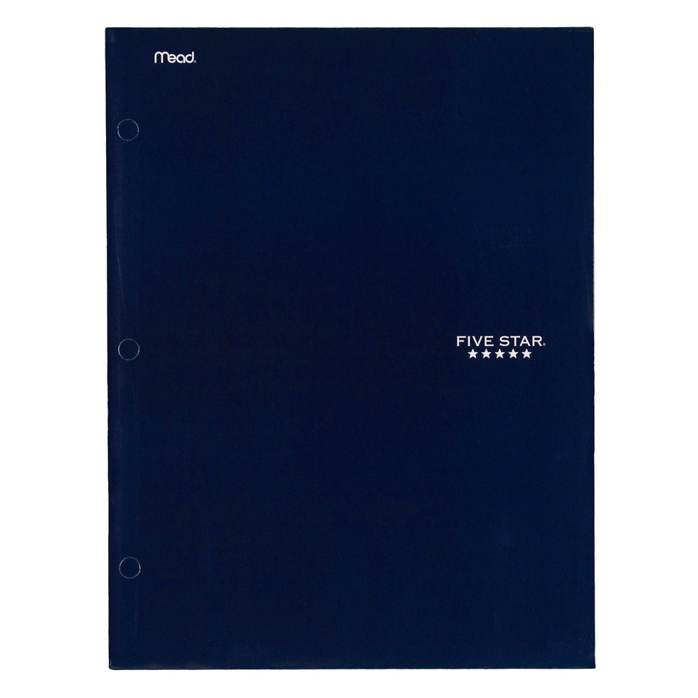 Mead Five Star Laminated Paper Folder, 4 Pocket - Blue
