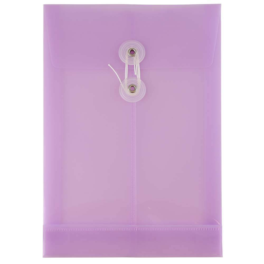 Jam Paper 6 1/4'' x 9 1/4'' 12pk Plastic Envelopes with Button and String Tie Closure, Open End - Purple