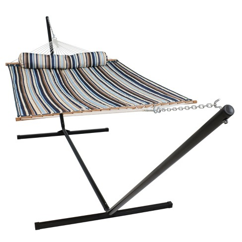 Quilted Double Fabric Hammock and 15' Stand- Ocean Isle - Sunnydaze Decor - image 1 of 4